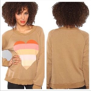 Wildfox Beach Heart Gidget Sweatshirt Rainbow Tan